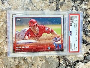 2015 Topps Opening Day Sliding Mike Trout #77 PSA 10 GEM MINT Los Angeles Angels