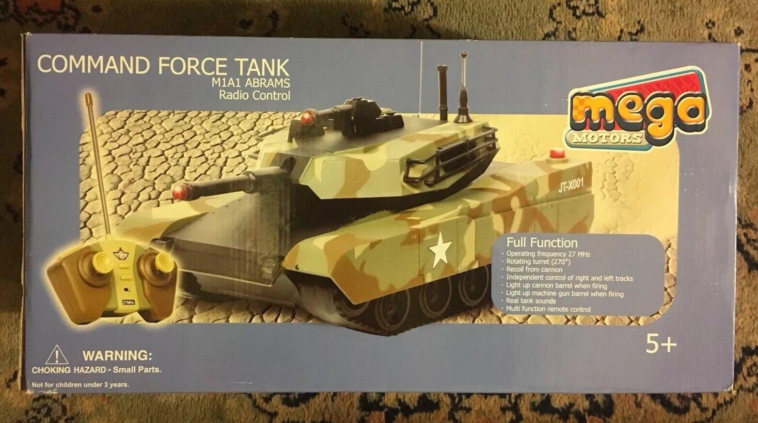 MEGA MOTORI COMANDO forza TANK telecomando radio controllato M1A1 Abrams NUOVO
