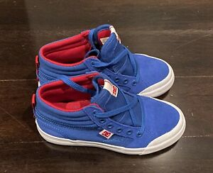 DC-Youth-Spartan-High-Tops-TX-Boys-Shoes-Sneakers-Sz-1-US-Blue-Red-White-BNWOB