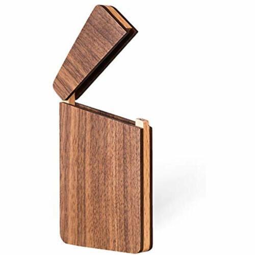 MaxGear Wood Business Card Holder Wooden Case Slim Wallet Pocket Name Unique Day