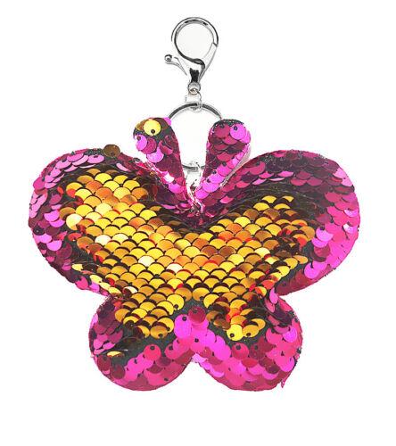 Wende Pailletten Taschenanhänger Schlüssel Anhänger Motiv Schmetterling