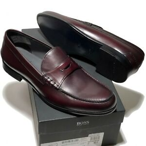 HUGO BOSS Brown Red Leather Penny