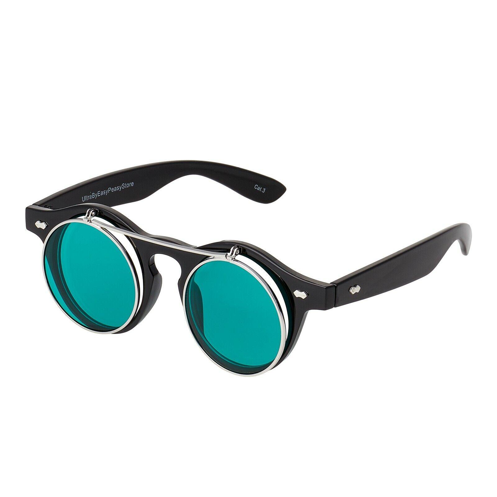 Nero Verde Scuro Flip Up Cerchio Steampunk Occhiali Goggle Occhiali da sole CYBER GOTHIC