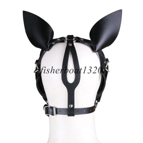 Dog Puppy Animal Leather//PU Head Harness Ears Mask BDSM Roleplay Couple Fun