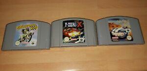 Excitebike 64, Top Gear Overdrive, F-Zero X-N64 Nintendo 64-PAL-en muy buena condición