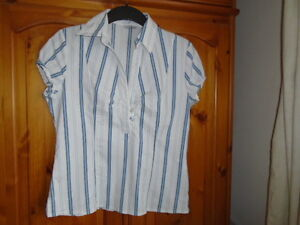 White-blue-and-green-stripe-semi-fitted-shirt-E-VIE-size-12-great-for-work