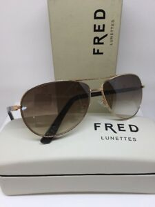 New-Authentic-FRED-Lunettes-In-Life-Sun-C2-213-Gold-Aviator-SUNGLASSES-France