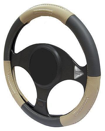 Bronceado//Negro Cuero Volante Cubierta 100/% cuero se adapta Ssangyong