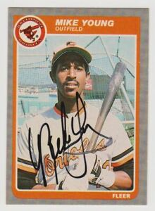 Mike Young 1985 Fleer #195 Autographed Signed Orioles