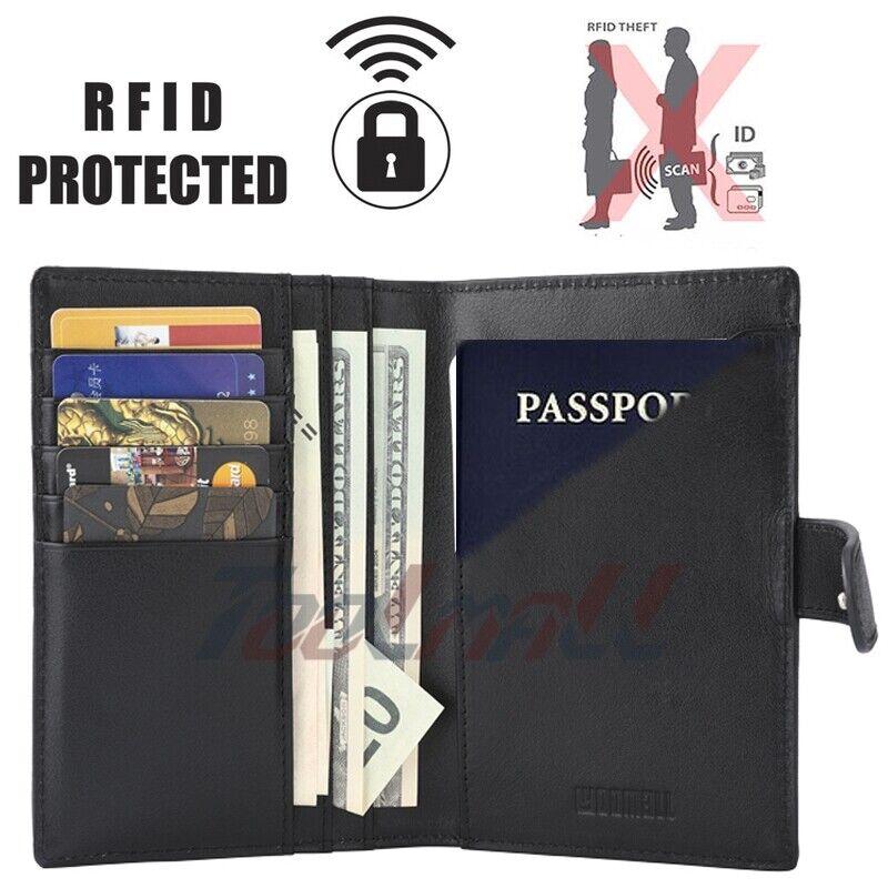 Rfid Bloquant 100% Cuir Véritable 9 Slot Porte-passeport Wallet Card Case Cover