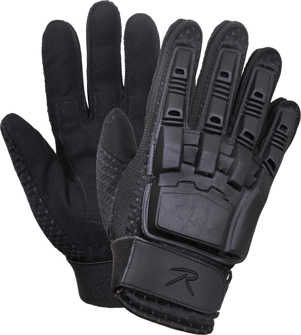 Black Armored Military Padded Molded Hard Back Tactical Gloves
