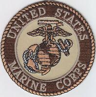 "United States Marine Corps USMC Logo 3"" DESERT TAN patch US Marines"