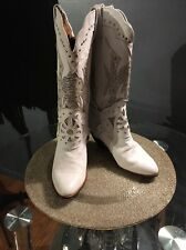 Vero Cuoio Womens Cowboy Western Fashion WHITE WITH STONES Boots SZ 7