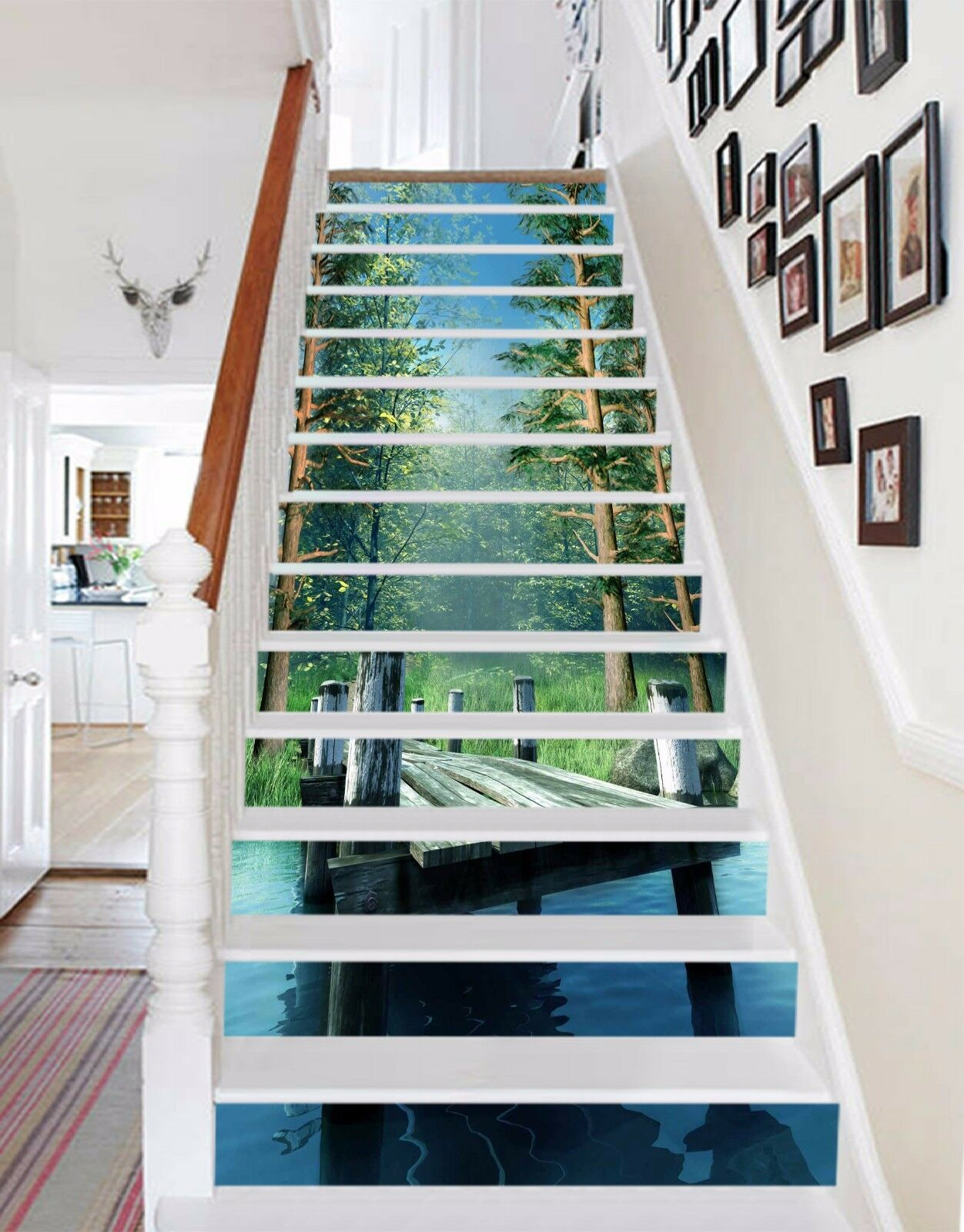 3D Woods Road 5 Stair Risers Decoration Photo Mural Vinyl Decal Wallpaper UK