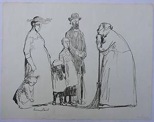 Dessin-Original-Encre-Scene-Famille-Illustration-HERMANN-PAUL-c-1900