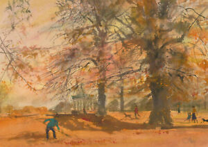 Ronald-Olley-b-1923-Signed-c-2000-Watercolour-Autumn-in-the-Park