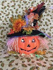 Autumn Halloween Fiber Optic Jack O Lantern Scarecrow Pumpkin Battery Operated