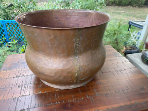 Incredible Antique VTG copper Pot Large 14'' Hand Hammered Forged Primitive Old
