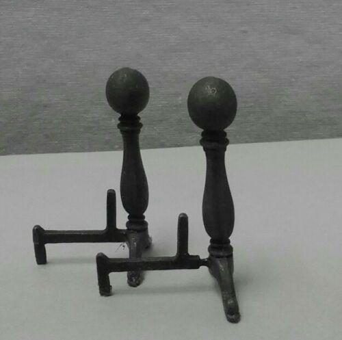 Dollhouse Minature Harmony Forge Handcrafted wrought Cannonball Andirons 1:12