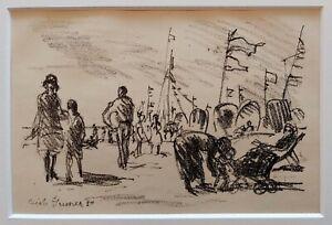 Louis-Erich-GRUNER-1881-1966-Original-Lithographie-1921-1923-STRANDLEBEN