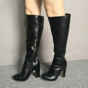Women High Leather Knight Boots Punk Leather Pointed Toe High Block Heels Sz