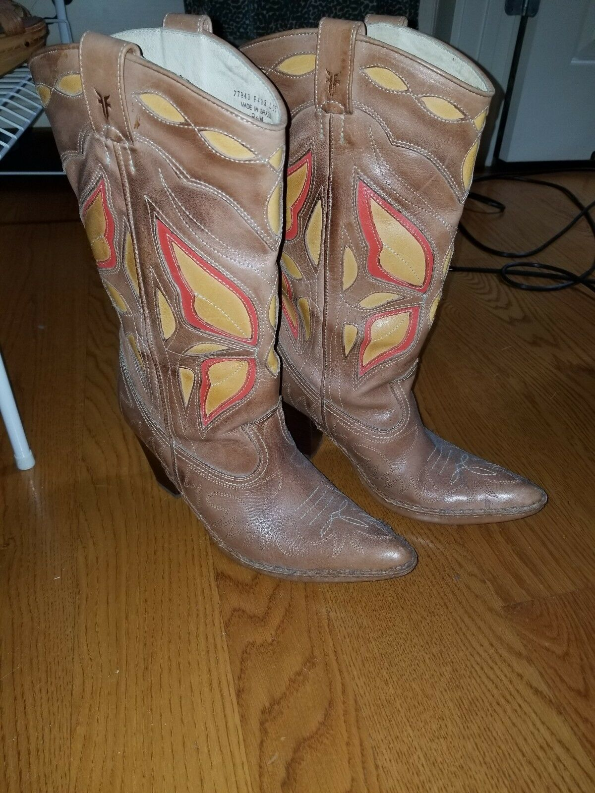 Frye Phoenix Butterfly leather leather leather boots - size 9.5M 778cd1