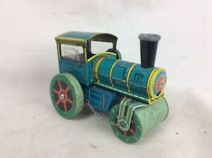 Vintage-Tinplate-Clockwork-Steam-Roller-Kovap-No-7-Working-But-No-Key