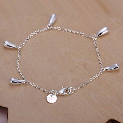 Women 925 Sterling Silver Plated 5 Waterdrop Chain Bangle Bracelets Cute Jewelry
