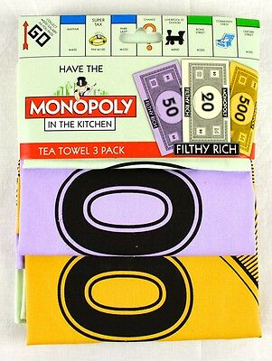 MONOPOLY - Set of 3 Tea Towels -Money  - Monopoly Licensed Product