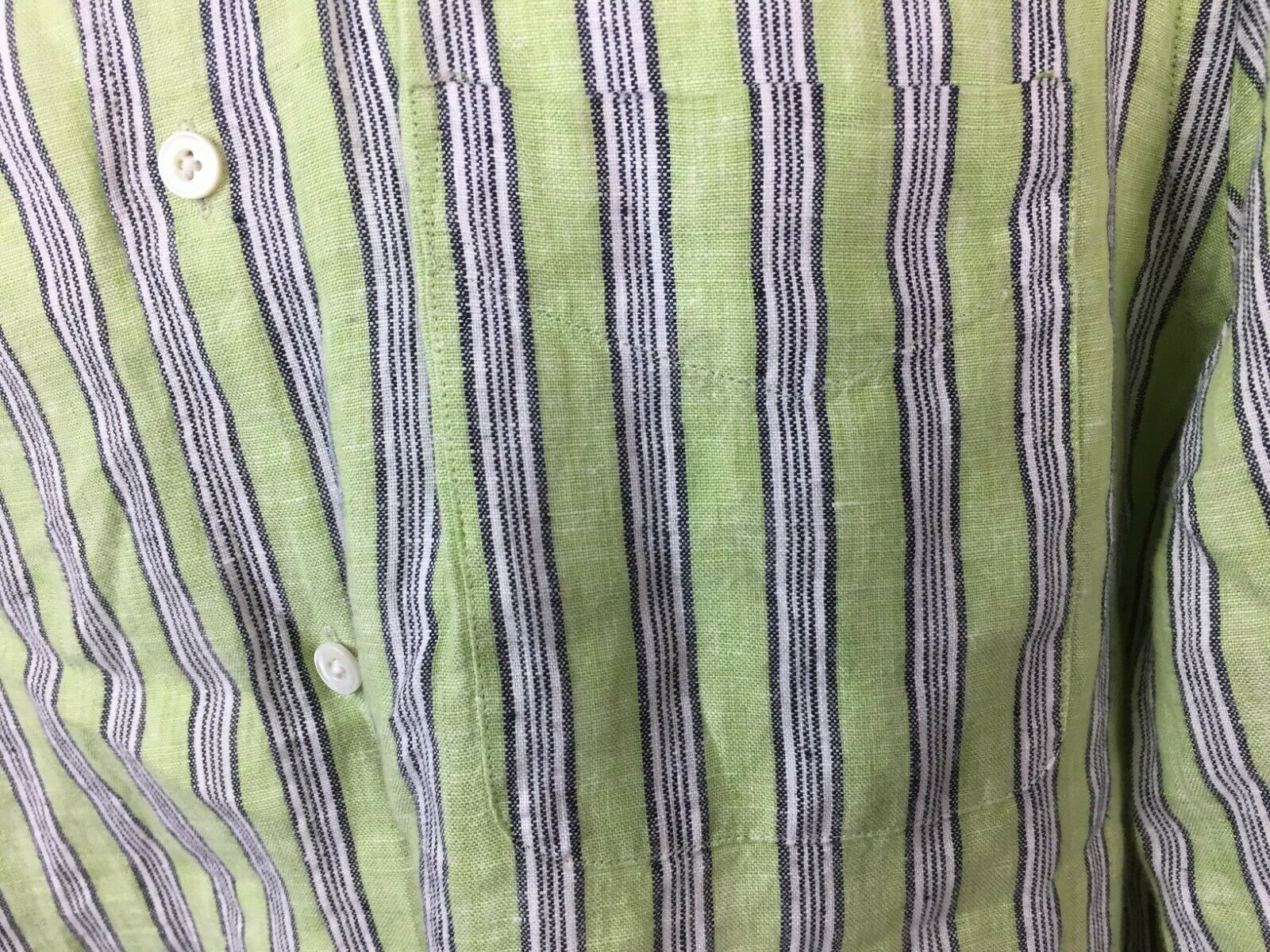 Express Men's Green Striped Button Up Shirt White… - image 3