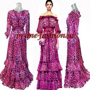3d3709b195 Dolce   Gabbana Pink Animal Print Off Shoulder Top Long Skirt Silk ...