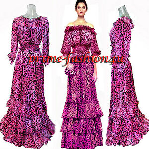 08e537789895 Dolce & Gabbana Pink Animal Print Off Shoulder Top Long Skirt ...