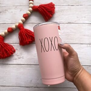 Rae-Dunn-XOXO-Insulated-Stainless-Steel-Pink-Travel-Tumbler-w-Lid