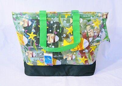 """Waterproof Transparent See Through Tropical Fish Beach Bag 23x16x5"""" Green 411N"""