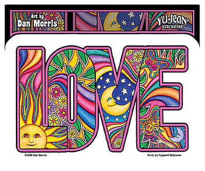40057  LOVE Sticker / Decal by Dan Morris - Hippy 60s Sun Moon Butterfly Stars
