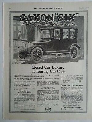 1915 Saxon Sechs Geschlossene Auto Abnehmbare Allwetter Top Vintage Motor Ad Die Nieren NäHren Und Rheuma Lindern