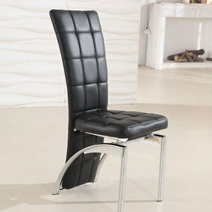 Ravenna Dining Chair In Black Faux Leather With Chrome Legs Ebay
