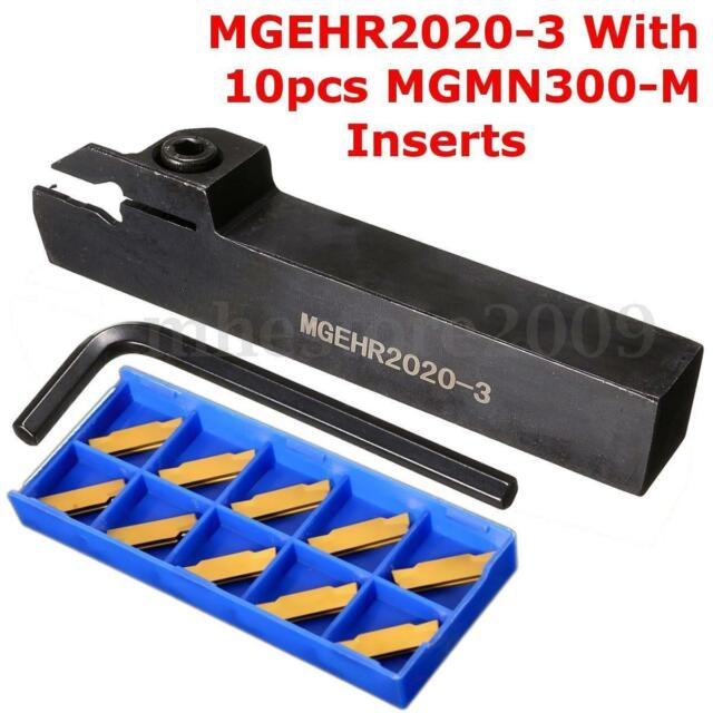 10x MGMN300 3mm Inserts^/& MGEHR2020-3 Lathe Grooving Parting Cutter Kits Holder