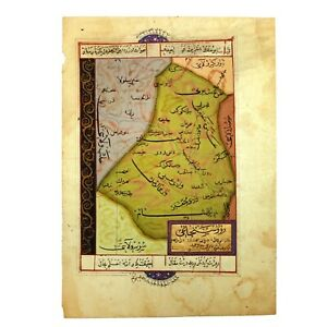Antique-Handmade-Drawing-of-Ottoman-Empire-039-s-Manuscript-Map-in-Ottoman-Language