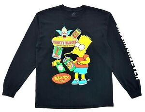 Bart-Simpson-Underachiever-Long-Sleeve-Tee-Black-Size-L-Mens-T-Shirt-amp-Socks