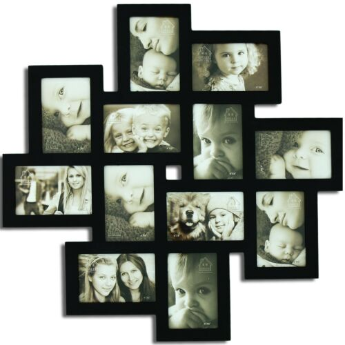Adeco Decorative Black Wood Wall Hanging Collage Picture Photo Frame, PF0206