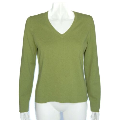 ANN TAYLOR Petites Pretty Apple Green 100% Cashmer