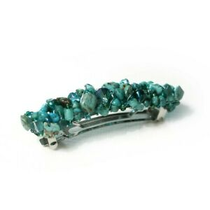 Turquoise-Boho-Beadwrapped-Barrette-70mm-BA475