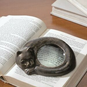 Sleepy Cat Magnifying Glass Iron Magnifier Desk Office Accent Kitten Figurine