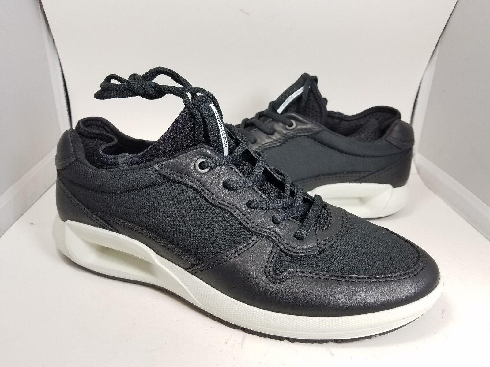 sz 8.5/ 39 NEW ECCO Women's Black neoprene / leather Fashion Sneaker