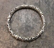 Silver Filigree stretch bangle bracelet with ornate silver beads fits most sizes