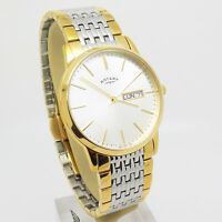Men's Rotary 2 Colour Gold Plated Stainless Steel Wrist Watch