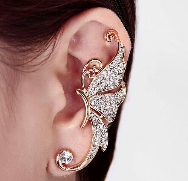 Punk Rhinestone Crystal Butterfly Ear Cuff Clip Cartilage Ear wrap Earring 1pc