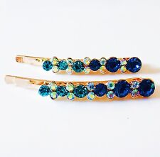 USA Bobby Pin Using Swarovski Crystal Hair Clip Hairpin Fashion Simple Blue AB
