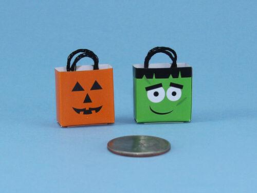 Adorable Set of 2 Dollhouse Miniature 1:12 Halloween Trick or Treat Bags #HCHB2